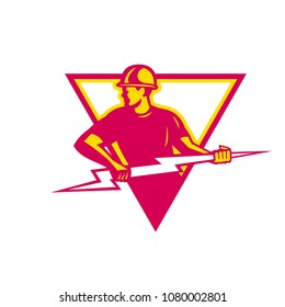Retro style illustration of a power lineman or electrician holding a lightning bolt or thunderbolt viewed from side set inside triangle on isolated background.