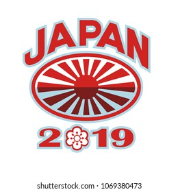 Retro style illustration of a rugby ball with Japanese flag rising sun set inside rugby ball with words Japan 2019 and sakura or cherry blossom flower in number zero on isolated background.