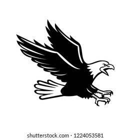 Retro style illustration of a screaming bald eagle with talons out swooping viewed from side on isolated background in black and white.