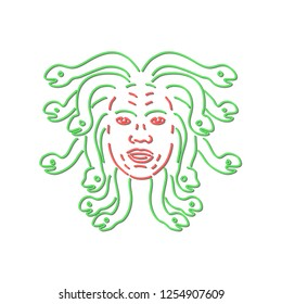 Retro style illustration showing a 1990s neon sign light signage lighting of head of Medusa in Greek mythology, Gorgon monster, living venomous snakes instead of hair on isolated background.
