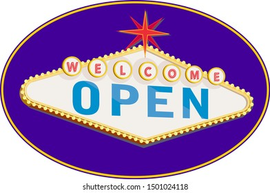 Retro style illustration showing a 1990s neon sign light signage lighting of a Las Vegas style  light signage lighting of welcome open sign on blue oval on isolated background.