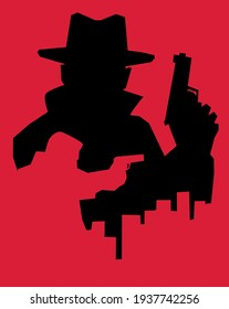 Retro style illustration of silhouettes of two men holding guns. Double exposure technique.