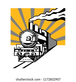 Retro style illustration of a vintage steam engine train or locomotive going towards the viewer with sunburst in background on isolated background.