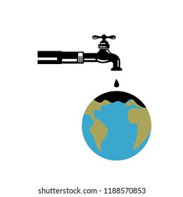 Retro style illustration of a water pipe with faucet, spigot or tap water dripping on world globe on isolated background.