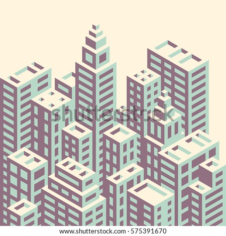Retro style isometric city buildings vector illustration.