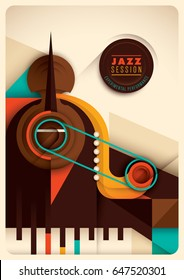 Retro style Jazz poster design, with abstract composition made of music instruments. Vector illustration.