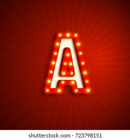 Retro style letter A with electric bulbs. Realistic 3d light sign, red background. Vector illustration.