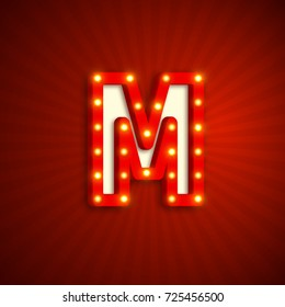 Retro style letter M with electric bulbs. Realistic 3d light sign, red background. Vector illustration.