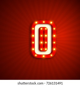 Retro style letter O with electric bulbs. Realistic 3d light sign, red background. Vector illustration.