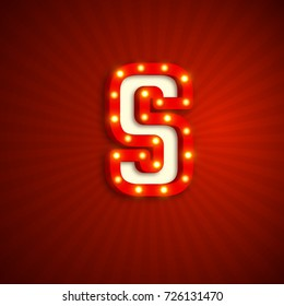 Retro style letter S with electric bulbs. Realistic 3d light sign, red background. Vector illustration.
