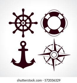 Retro style maritime travel icon set vector on white background. Flat web design elements for website, app or infographics materials.