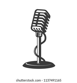 Retro style microphone isolated on white background. Design element for badge, poster, card. Vector illustration
