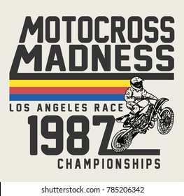 retro style motocross graphic for tee and other uses