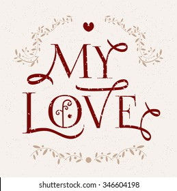 Love You Illustration Logo Collection Handdrawn Stock Vector