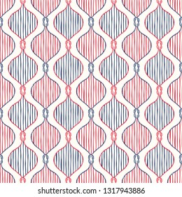 Retro Style Nautical Hand-Drawn Rope Ogee Vector Seamless Pattern with Stripes. Navy Blue and Red Marine Background