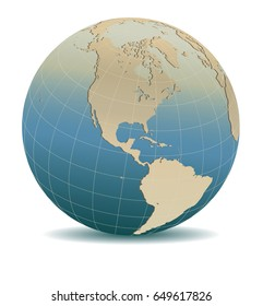 Retro Style North and South America Global World, Elements of this image furnished by NASA