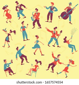 Retro style party flat vector seamless pattern. Jazz musicians, jive and rock n roll dancers background. Old fashioned 1940s texture with cartoon color characters. Wrapping paper, wallpaper design