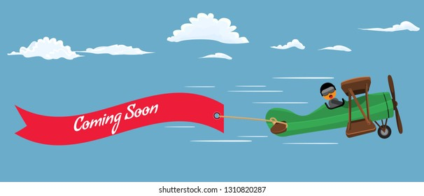 Retro style plane with red flying ribbon and text coming soon. Flat color style vector illustration.