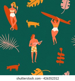 Retro style poster. Summer beach camp illustration with surf teens playing guitar and surfing.