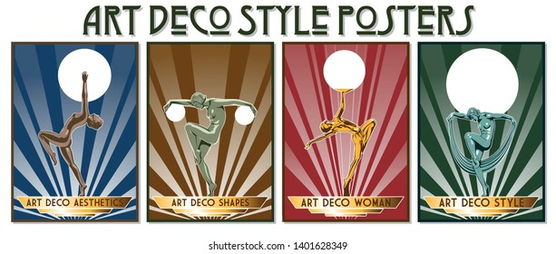 Retro Style Posters from the 1920s Female Statues and Art Deco Aesthetics