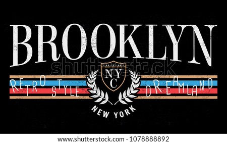 retro style print design brooklyn new のベクター画像素材