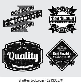 retro style removable grunge effect premium quality labels in  black and white