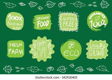 Retro style set of 100% bio organic gluten free eco bio healthy food restaurant menu logo label templates with floral and vintage elements in green color. Organic food badges in vector