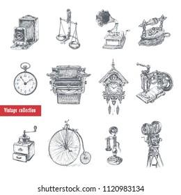 Retro style set. Movie camera, typewriter, gramophone, camera, scales, pocket watches, coffee grinder, Candlestick Telephone, bicycle, old iron, sewing machine, cuckoo-clock. Vintage Illustration