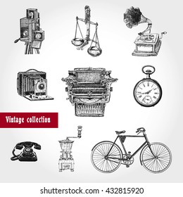 Retro style set. Movie camera, typewriter, gramophone, scales, hours, coffee grinder, telephone, bicycle. Vintage Illustration in ancient engraving style