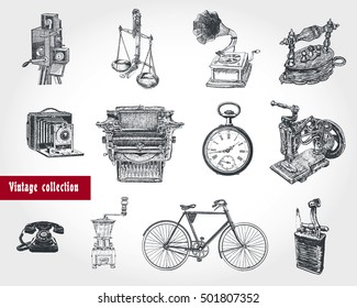 Retro style set. Movie camera, typewriter, gramophone, camera, scales, hours, coffee grinder, telephone set, bicycle, old iron, sewing machine, lighter. Vintage Illustration in engraving style