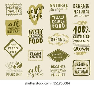 Retro style set of natural, organic and kosher food labels. Hand drawn logo templates with floral and vintage elements for healthy food restaurant menu or package. Vector badges