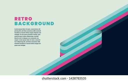 Retro style simple template design with stripes, headline and text. Vector illustration.
