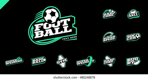 Retro style sport logo set. Soccer, Baseball, rugby, football, gym emblem and wedding text logotype. two color style on black background