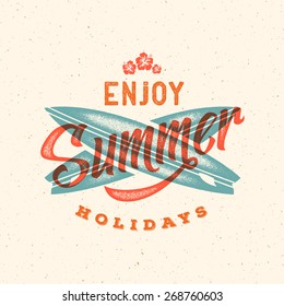 Retro Style Summer Card, Emblem, or a Logo Template with Textured Background