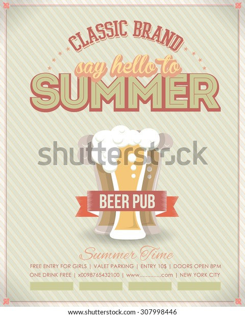 Retro Style Summer, Drink Pub Flyer, Poster - Optional Party, Events, Advertising, Announcement Vector Design