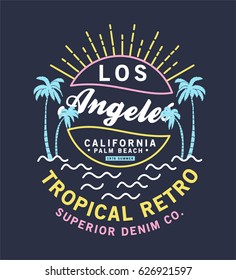 retro style summer tee print vector design
