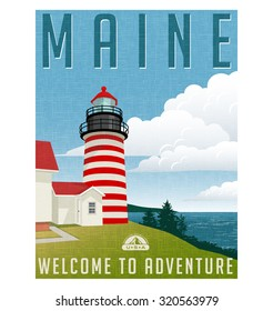 Retro style travel poster or sticker. United States, Maine lighthouse.