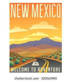 Retro style travel poster or sticker. United States, New Mexico desert landscape.