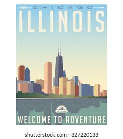 Retro style travel poster or sticker. United States, Chicago Illinois