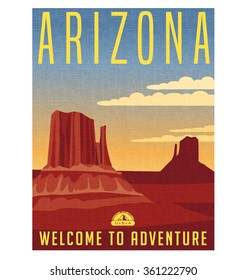 Retro style travel poster or sticker. United States, Arizona