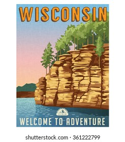Retro style travel poster or sticker. United States, Wisconsin Dells, Wisconsin