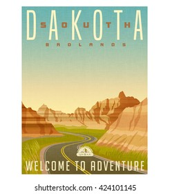 Retro style travel poster or sticker. United States, South Dakota, Badlands National Park