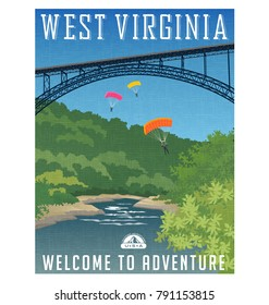 Retro style travel poster or sticker. United States, West Virginia, New River Gorge Bridge, Appalachian Mountains