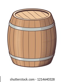 Retro style vector illustration of barrel. Colored version