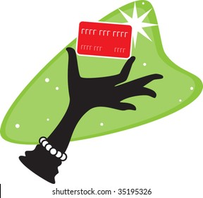 a retro style vector illustration of a female gloved hand holding a credit card