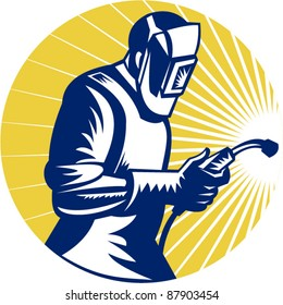 retro style vector illustration of a welder at work with torch viewed from side set inside circle
