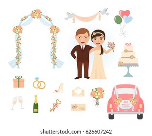 Retro style wedding objects. Bride groom cartoon characters and set of icons