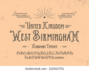Retro Styled Antique Font. Vintage Hand Drawn Typeface Duo. Original Letters and Numbers. Vector