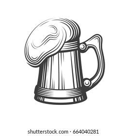 Retro Styled Beer Mug, Label EPS 10
