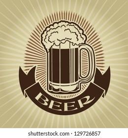 Retro Styled Beer Mug Seal /  Label